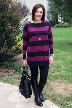 Fashion Advice for Women Over 40: How to Wear Leggings with a Tunic Sweater