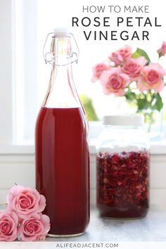 Learn to make rose petal vinegar with apple cider vinegar and dried rose petals. Smells just like roses! This panacea has a variety of therapeutic uses for skin, hair, and scalp. It's a natural remedy that can aid in soothing ailments such as acne, rosacea, eczema, dandruff, irritation, sunburn, bug bites, hives, allergic reactions & more. Dilute it to make a refreshing face mist or hair tonic. The uses are almost endless for this flower infusion! #diy #diybeauty #naturalremedies…