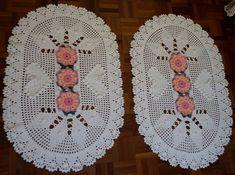 Tapete oval de Crochê Coração de Pipoca 2 peças