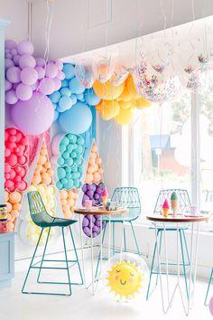 Balloon Backdrop, Mylar Balloons, Balloon Garland, Balloon Arrangements, Balloon Centerpieces, Summer Party Themes, Birthday Party Decorations, Party Ideas, Tillamook Ice Cream