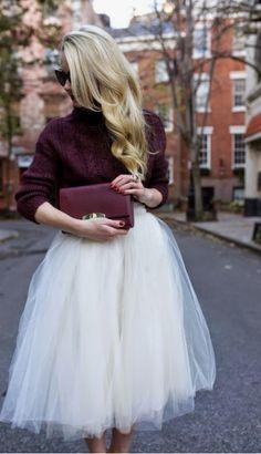 Tutu En Tulle, Tulle Skirts, White Tulle Skirt, Looks Style, Style Me, Hair Style, Skirt Outfits, Winter Outfits, Tule Skirt Outfit