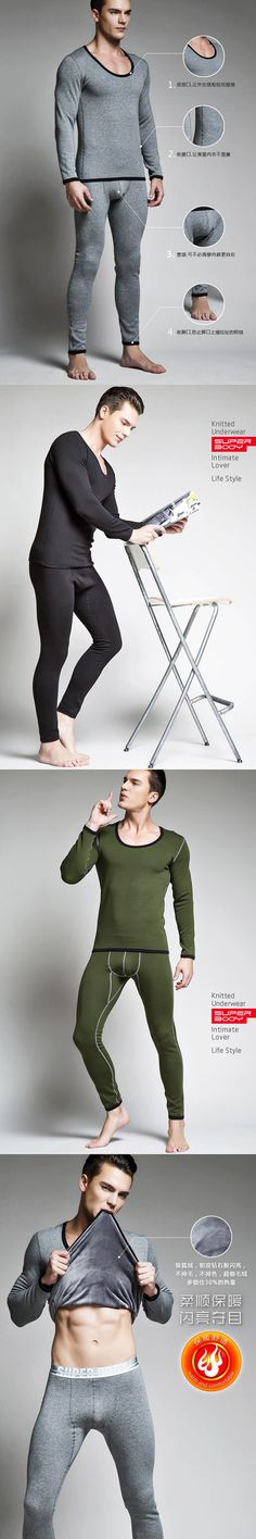 Good Quality Men Fashion 4 Style Winter Fall Sleepwear Sets Sexy Guy Add Wool Warm Undershirt Lounge Pajama Bodysuit Lingerie