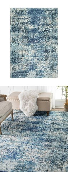 Set in a serene color scheme, this gorgeous Garland Rug is bound to give any transitional room a stylish lift. Decorated with heavily distressed traditional floral patterning, this handsome design has ...  Find the Garland Rug in Blue, as seen in the Textile Collection at http://dotandbo.com/category/decor-and-pillows/rugs/textile?utm_source=pinterest&utm_medium=organic&db_sku=123855