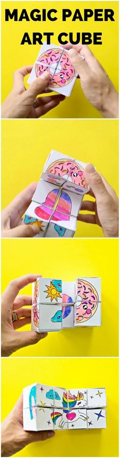 DIY Magic Paper Art Cube. Get the free coloring templates to make this mesmerizing paper cube that transforms!