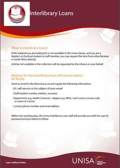 Information on how to request material not available in the Unisa Library collection. Information about self-service ILL requests for books Literature Search, You May, Libraries, South Africa, Articles, Student, Collection, Library Room, Bookcases