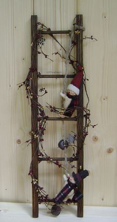 Wooden Primitive Christmas Ladder on Etsy, $38.00 this would be so easy to make