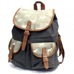 Traveler Backpacks - 1 Pocket Horses | Ancient Wisdom | Giftware Wholesale How cool and funky is this grey backpack with white horses. It comes with two external pockets for those small items and two internal pockets where one comes with a zipper. This backpack is very comfy and its good enough to carry all the school supplies. #Wholesale_Bags #Wholesale_Backpacks #Traveller_Backpacks #Fashionable_Backpacks
