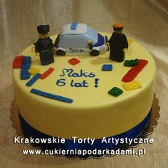 120. Żółty tort Lego policja. Yellow cake with Lego police.