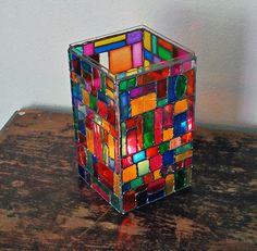 Faux Stained Glass Mosaic Luminary by @amandaformaro - Crafts by Amanda