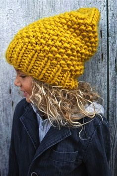 Princesse des Neiges winter wool yellow moustard child hat