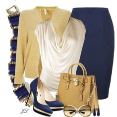 Blue, gold and ivory