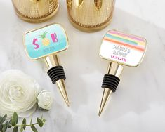 Choose either a pineapple or watercolor sticker design and personalize them with your wedding initials or names and wedding date.These cute bottle stoppers are amazing wedding favors for a beach wedding!