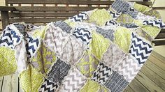 Twin Size Quilt, Rag, CharFusion, navy grey chartruese, ALL NATURAL, fresh modern handmade bedding, READY to ship via Etsy