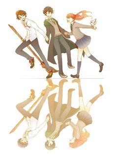 in this picture: James Sirius Potter = James Potter  Albus Severus Potter = Severus Snape  Lily Luna Potter = Lily Evans: