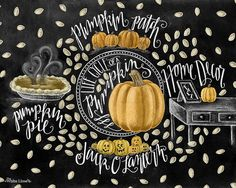 ♥ Life Cycle Of A Pumpkin ♥ ♥ L I S T I N G ♥ Each image is originally hand drawn with chalk and converted digitally. Chalkboard prints maintain the authenticity and dust of the original drawing smudge free. All prints are printed on Deep Matte Fujicolor Crystal Archive Professional