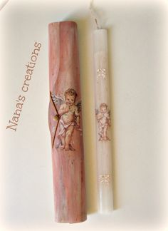 Vintage Easter candle with angel and wooden box for it