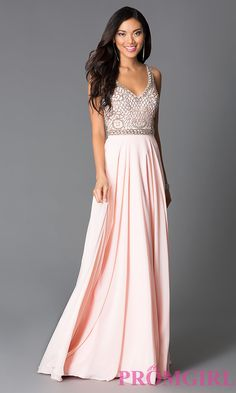 This rose long formal dress has a sparkling beaded sleeveless V neck bodice with low cut illusion back, natural waist and floor length, soft full skirt. Description from simplydresses.com. I searched for this on bing.com/images