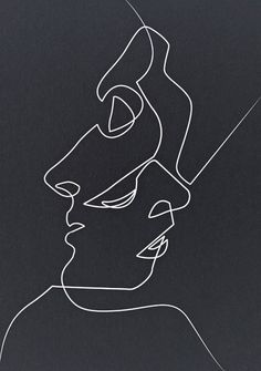 Ideas for doodle art ideas sketches products Art Abstrait Ligne, Art Sketches, Art Drawings, Drawing Faces, Contour Drawings, Portrait Sketches, Kiss Illustration, Art Illustrations, Abstract Line Art