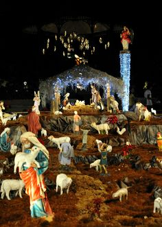 Every Christmas season, a large nacimiento is erected in the zocalo of the city of Oaxaca. Christmas Crib Ideas, Christmas Tree Design, Simple Christmas, Beautiful Christmas, Christmas Themes, Christmas Decorations, Christmas Printables, Christmas Nativity Scene, Christmas Door