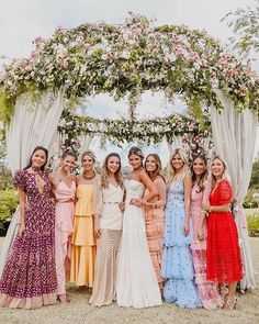 The colorful, mix + match bridal party inspo we didn't know we needed! Tag your 🤗💕💫 bride: photo: decor: Summer Wedding, Dream Wedding, Wedding Day, Wedding Ring, Wedding Cakes, Team Bride, Wedding Bridesmaids, Wedding Dresses, Hot Pink Bridesmaids