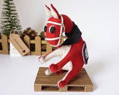 Burro Ego Rojo  Burro Rojo  Burro Muñeco  Fieltro de lana