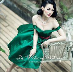 le palais vintage green off shoulder strapless swing dress plus size everning party dresses elegant cocktail vestidos de festa