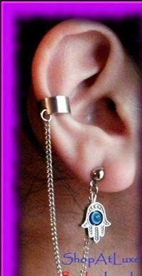 Hamsa Hand With Blue Evil Eye of Fatima - Ear Cuff And Chain Earring - http://evilstyle.com/hamsa-hand-with-blue-evil-eye-of-fatima-ear-cuff-and-chain-earring