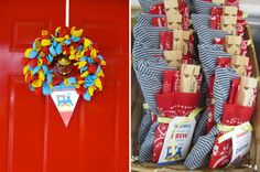 I like the set up of the favors {customer photos} Train wreath and party favors Thomas The Train Birthday Party, Trains Birthday Party, 4th Birthday Parties, Birthday Fun, Birthday Ideas, Train Party Favors, Train Party Decorations, Chuggington Birthday, Party Time