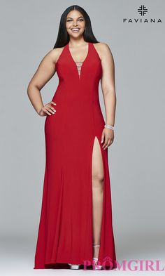 Faviana long v-neck plus-size prom dress with side slit. Style: FA-9402
