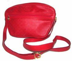 276f1cf119e1 Vintage GUCCI GG MONOGRAM LOGO Red Leather Shoulder Crossbody Handbag Small  ** #Gucci #ShoulderBag
