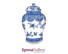 LARGE - Blue and white Ginger Jar - Blue and white - print of my original watercolour painting code: SPG015