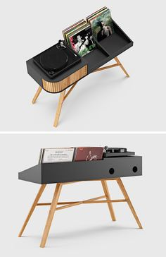 Record Storage Ideas - Norwegian furniture brand HRDL, has designed The Vinyl Table, a modern console that shows off the turntable and displays your record collection. Record Table, Vinyl Record Display, Vinyl Record Storage, Design Studio Office, Recording Studio Design, Stockage Record, Studio Furniture, Furniture Design, Vinyl Shelf