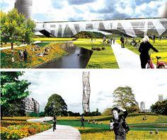 Landscape+Urbanism: P/A Award: Taichung Gateway Park Landscape And Urbanism, Landscape Architecture Design, Architecture Awards, Urban Design Diagram, Digital Collage, Vignettes, Presentation, Park, Range