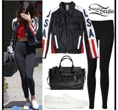 Leather jacket with black leggings Selena Gomez Outfits, Selena Gomez Style, Adidas Ultra Boost Shoes, Blue Bandeau Bikini, Classic Tuxedo, Suede Coat, Kendall Jenner Style, Black Leggings, Her Style