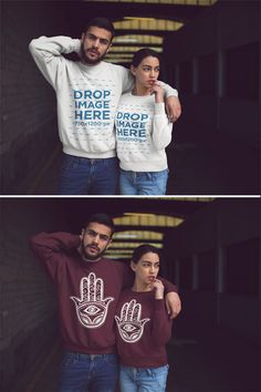 Download Placeit Hispanic Couple Posing For A Picture While Wearing Different Crewneck Sweatshirts Mockup Crew Neck Sweatshirt Sweatshirts Clothing Mockup