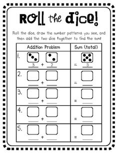 Dice Addition (Roll and Add!) teacherspayteachers