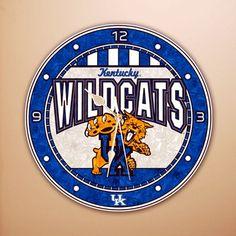 university of ky bedroom decor items   Kentucky Wildcats 12 Art-Glass Clock