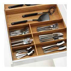 Keep your drawers organized with the IKEA VARIERA Flatware tray made out of bamboo. Kitchen Drawer Dividers, Kitchen Organization, Kitchen Storage, Utensil Drawer Organization, Ikea Drawer Organizer, Kitchen Drawer Liners, Cutlery Storage, Cabinet Organizers, Ikea Variera