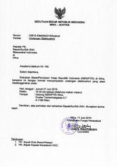 Bersama ini KBRI/ PTRI Wina menyampaikan undangan silahturahmi, yang diselenggarakan pada hari Jumat, tanggal 27 Juni 2014, pukul: 18:30