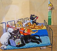 Caroline and Friends by Pierre Probst Commercial Art, Book Illustration, Vintage Children, Cat Art, Art Pictures, Cute Cats, Illustrators, Kittens, Childhood