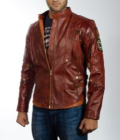 Mars Maroon Leather Jacket Guardians of the Galaxy Star Lord Jacket. Captain America Leather Jacket, Leather Men, Leather Jackets, Real Leather, Brown Leather, Rain Suit, Leather Trench Coat, Star Lord, Men's Wardrobe