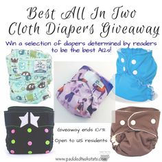 Padded Tush Stats giveaway for top performing all in two cloth diapers - SoftBums Echo, AppleCheeks, RagaBabe, and Green Line Diaper. Open to US residents, ends 10/31.