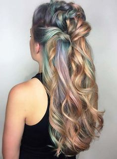 Pastel and Neon Hair Colors in Balayage and Ombre: Colorful Hair