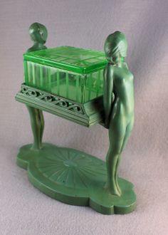 RARE ART DECO FRANKART ANTIQUE TWIN NUDE FIGURAL COVERED CIGARETTE BOX C.1930 NR ORIGINAL GREEN FINISH & ETCHED DEPRESSION GLASS INSERT