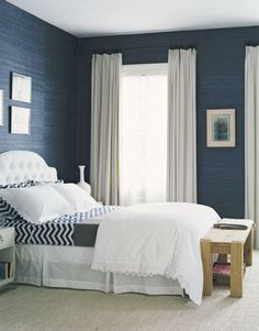 blue bedroom - i love those blue walls - there're the perfect shade of blue, would want texture of wallpaper to be up and down Blue Rooms, Blue Bedroom, Blue Walls, Dream Bedroom, Master Bedroom, Bedroom Decor, White Bedrooms, Bedroom Benches, Bedroom Ideas