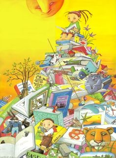 A mountain of books to read and share / Una montaña de libros para leer y compartir (autor desconocido)