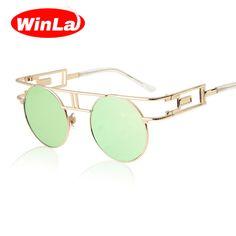 ae2d5d2c3f8 Unique Round Steampunk Sunglasses Women Retro Alloy Frame sunglass women  Brand Designer Vintage fashion Sun glasses gafas de sol-in Sunglasses from  Women s ...