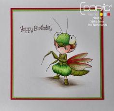 Copic Marker Europe: Praying Mantis Sprite.                                                           Mantis head: G07- G09 - G14 -YG05 and Copic Activator  Skin: E0000 - E000 - E04 - E11  Hair: E53- E55 - E59  Eyes: YG0000 - YG00 - YG01  Trousers: G07- G09 - G14 -YG05 and Copic Activator  Green mantis skin: G99 - YG07 - YG95  Mantis wings: E07 - E09 - R22 - R24 - YG91 - YG93 - YG95    Tail: G09 - G14 -YG05 and G99 - YG07 - YG95  Shoes: G99 - YG07 - YG95  Shadow on the floor: W0 - W1 - W3