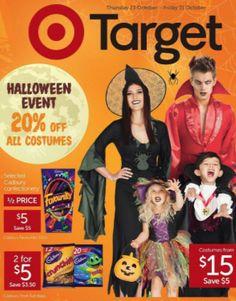 Deal: Target Halloween Event Catalogue - 20% Off ALL Costumes, 50% Off Chocolates & More Deals Target - Oct 22, 2014