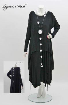 ♦ Lagenlook überlange Kautschuk-Kette mit Rückenkette, schwarz-weiss Scheiben ♦ | eBay